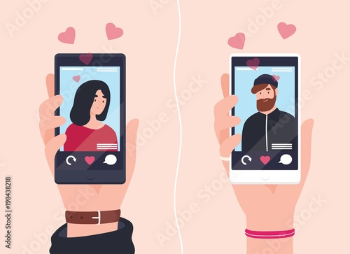 Leinwand Poster Male and female hands holding smartphones with portraits of man and woman on screens