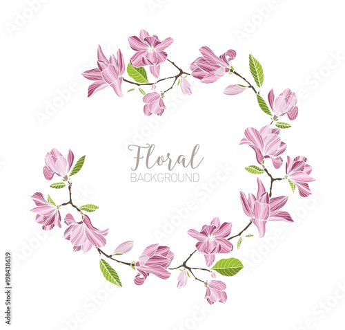 Round Background Border Or Frame Made Of Branches With Tender Pink