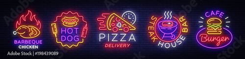 Big collection neon signs on theme food. Vector. Set bright food emblems, Neon food symbols, design template, Barbeque chicken, Hot Dog, Pizza Delivery, Steak House Bar, Burger Cafe