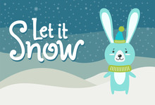 Let It Snow Hare Dressed In Warm Knitted Clothes