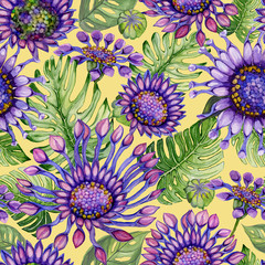Beautiful large vivid African daisy flowers with green monstera leaves on yellow background. Seamless bright floral pattern. Watercolor painting. Hand painted illustration.