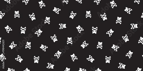 pirate crossbones Seamless Pattern cat vector kitten Halloween pirate isolated b Canvas Print