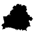 black silhouette country borders map of Belarus on white background of vector illustration