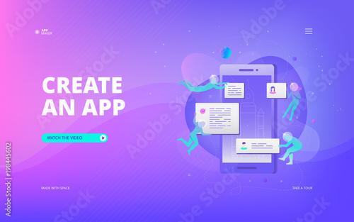 Obraz App development banner - fototapety do salonu