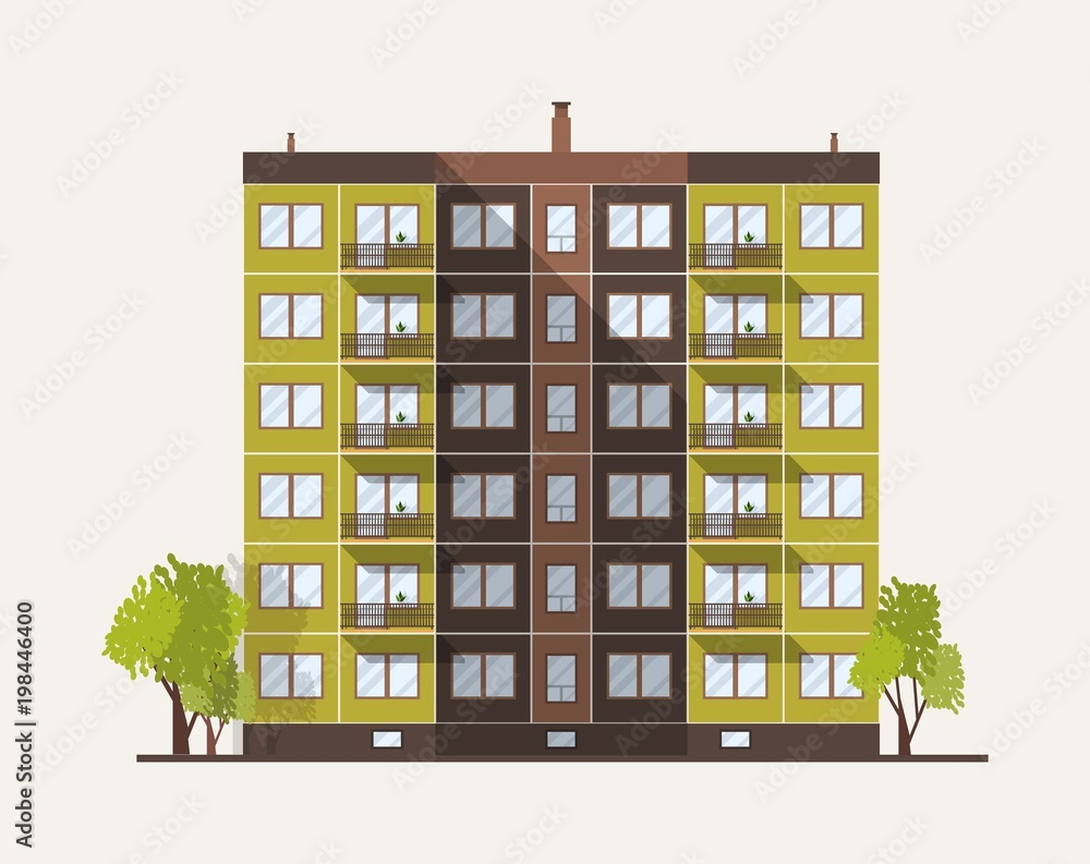 Fototapeta Tall multistory city panel building built in modern architectural style. Urban living house isolated on white background. Real estate architecture and construction. Flat colored vector illustration.