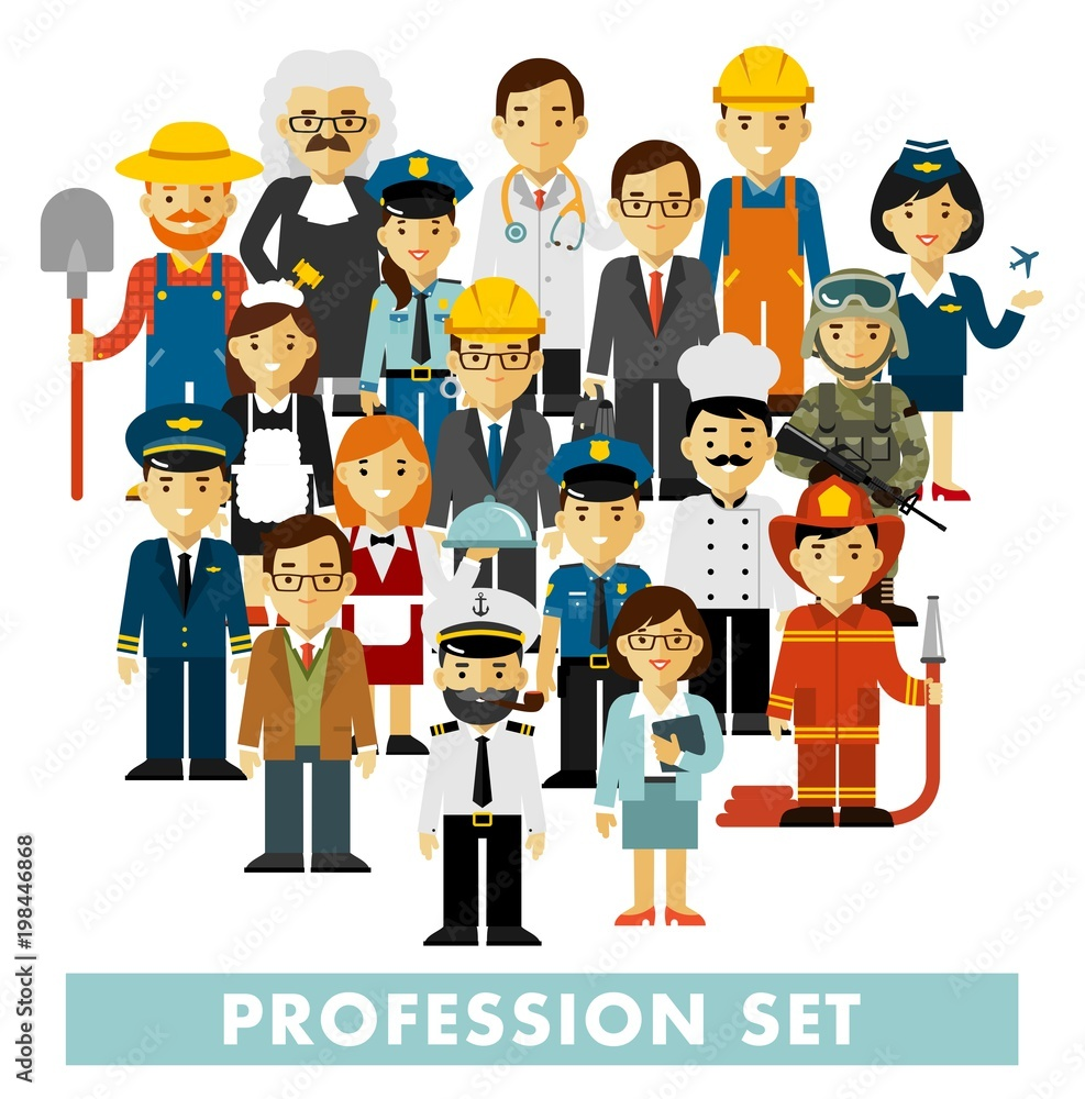 Fototapeta People occupation characters set in flat style isolated on white background. Different people professions characters standing together. Workers and staff.