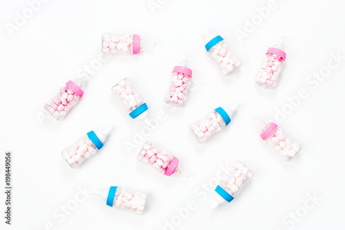 Decorative Baby Milk Bottles With Candy. Decoration For Baby Shower Party.  Flat Lay,