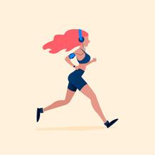 Running Woman. Vector Illustration In Flat Style