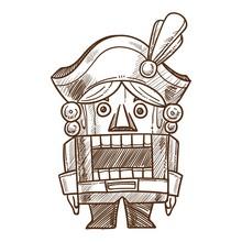 Nutcracker Retro Toy Sketch Ve...