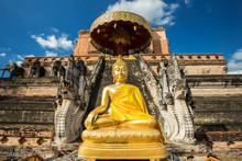 Wat Chedi Luang Is A Buddhist Temple In The Historic Centre Of Chiang Mai, Thailand.