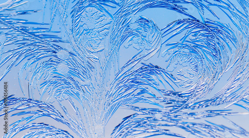 Keuken foto achterwand Vlinders in Grunge Blue drawings on the glass in the frost