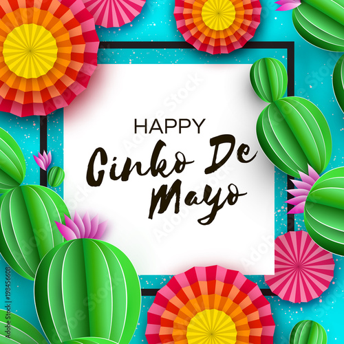 Happy cinco de mayo greeting card colorful paper fan and cactus in happy cinco de mayo greeting card colorful paper fan and cactus in paper cut style m4hsunfo