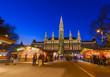 canvas print picture - Christmas Market near City Hall in Vienna Austria