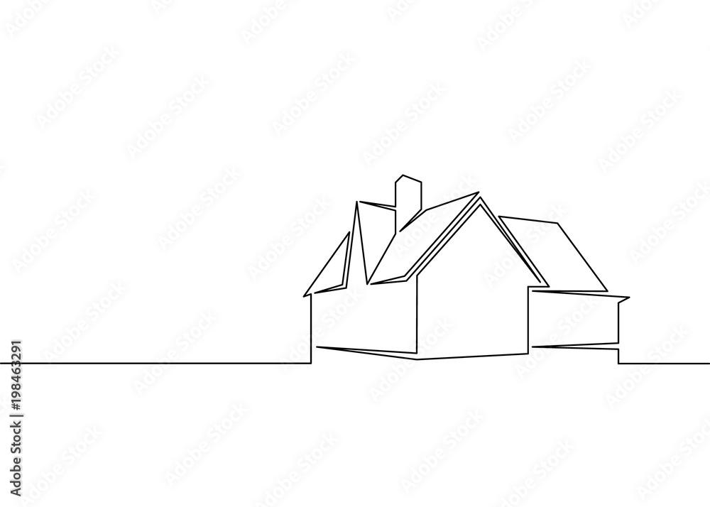 Fototapeta one line logo design of real estate house market agency