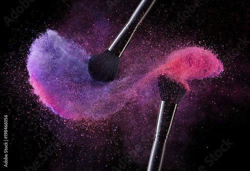 Photo Cosmetic Brushes And Explosion Colorful Powders.