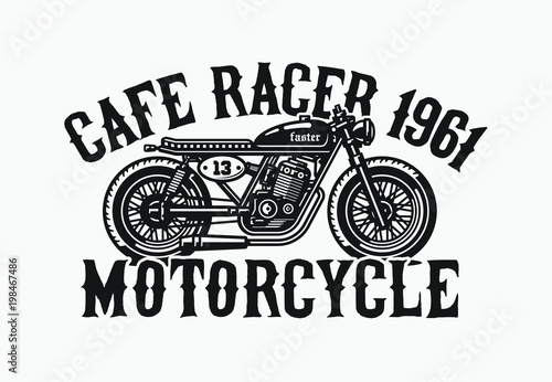 Monochrome cafe racer motorcycle Wallpaper Mural