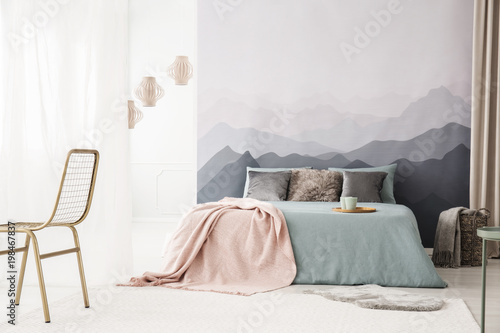 Foto op Aluminium Wit Cozy bed by landscape wallpaper