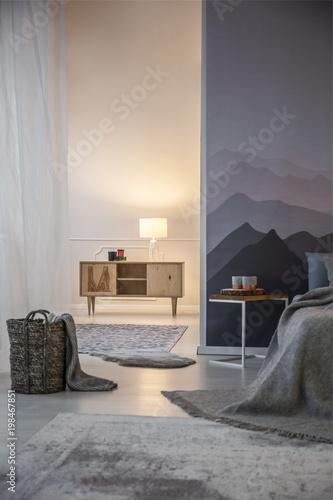 Fotografía  Illuminated bedroom with mountains wallpaper