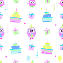 Owl Cake Seamless Pattern Vector