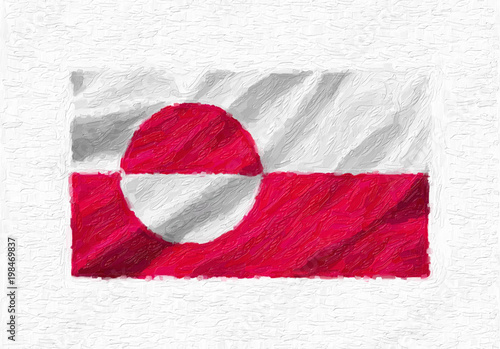 Fotografie, Obraz  Greenland hand painted waving national flag, oil paint isolated on white canvas, 3D illustration