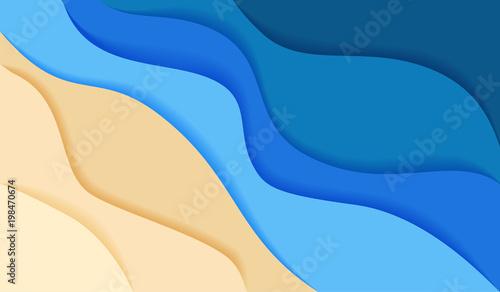 Photo  abstract blue sea and beach summer background