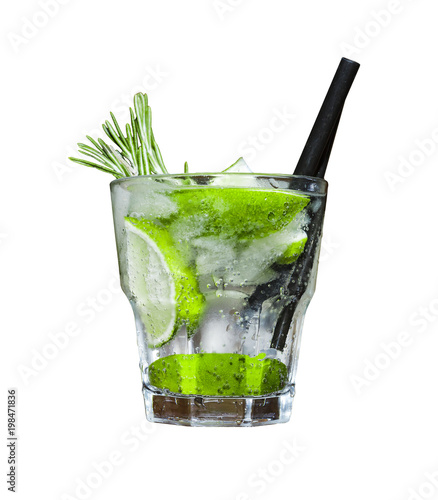 Deurstickers Bar mojito, alcohol, cocktail, Isolated on white, long drink, bar, party, night club, restaurant, bar, ice,
