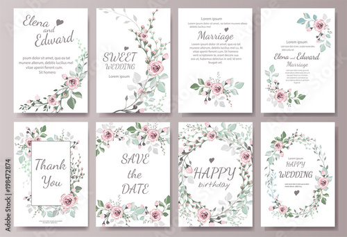 Foto  Set of card with flower rose, leaves