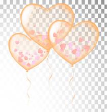 Orange Heart Balloons Transparent Banner Template, Background. Vector Illustration