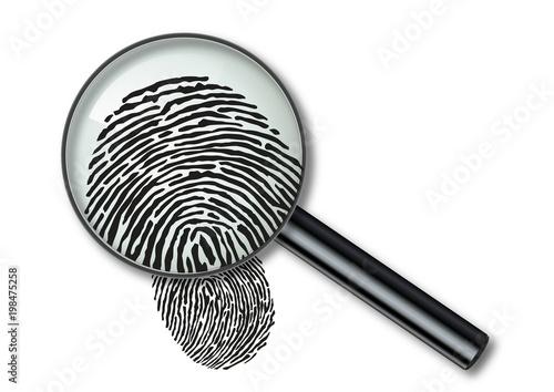 Leinwand Poster Empreinte - empreinte digitale - identité - crime - police - loupe - identificat