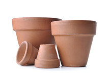 Group Of Old  Terra Cotta Pots Isolated On White Background