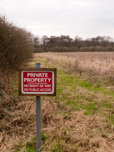 Red Wooden Private Property Sign Farm Land No Right Of Way No Public Access