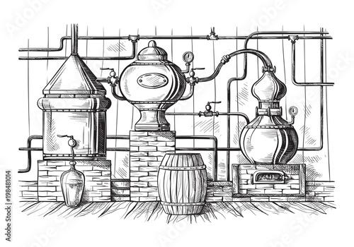 Fotografía  alembic still for making alcohol inside distillery, destilling spirits sketch