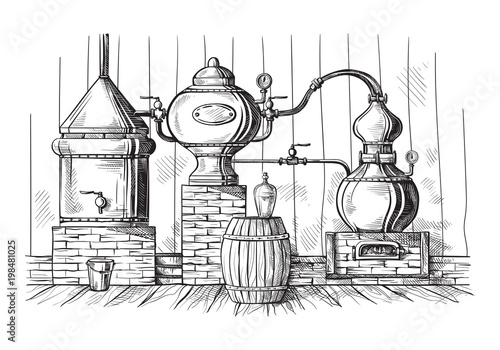 Photo alembic still for making alcohol inside distillery, destilling spirits sketch