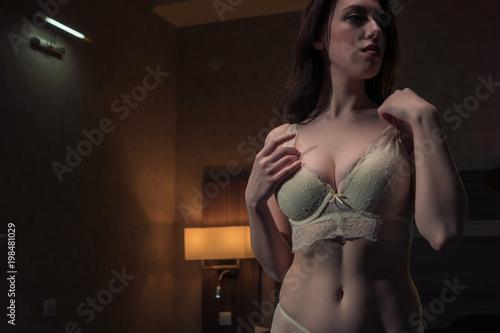 Fotografia, Obraz  Portrait of a sexy brunette girl in lace underwear