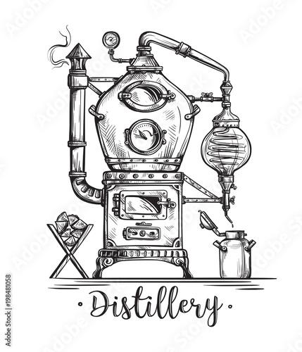 alembic still for making alcohol inside distillery, destilling spirits sketch Wallpaper Mural