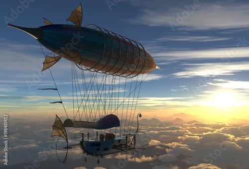 Photo Fantasy Airship Zeppelin Dirigible Balloon 3D illustration