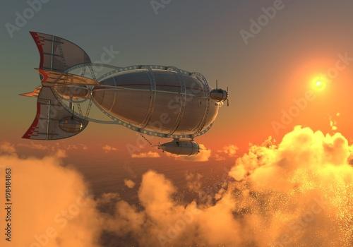 Fantasy Airship Zeppelin Dirigible Balloon 3D illustration Fotobehang