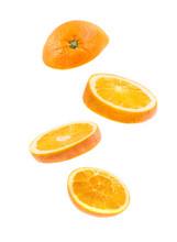 Sliced Flying Orange Isolated ...