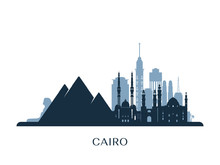 Cairo Skyline, Monochrome Silhouette. Vector Illustration.