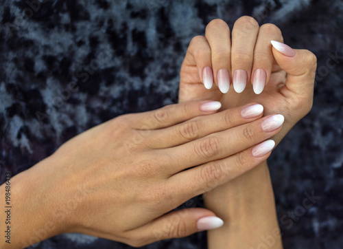 Manicure design french Ombre peach and white