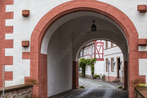 Ancient city Selingenstadt, Germany, historical old town, entrance gate in the wall © anatoliil
