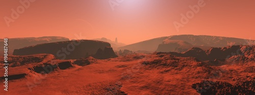 Spoed Foto op Canvas Koraal Mars, a panorama of a surface of a planet 3D rendering