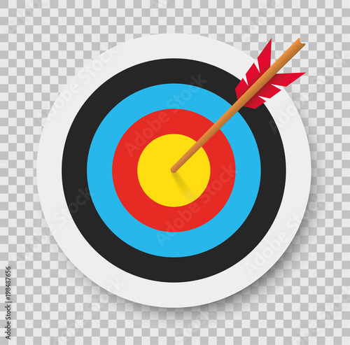 Photo Target with arrow. Archery. Vector illustration.
