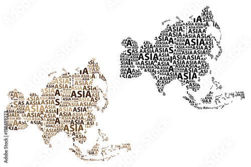 Sketch Asia letter text continent, Asia word - in the shape of the continent, Ma Poster
