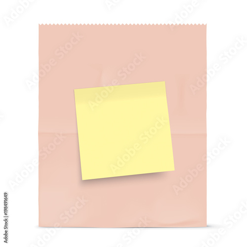 Brown Paper Bag Isolated On Background Grocery Kraft With Yellow Sticky Note Template