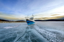 A Boat Stuck In Ice On A Lake Khovsgol Nuur