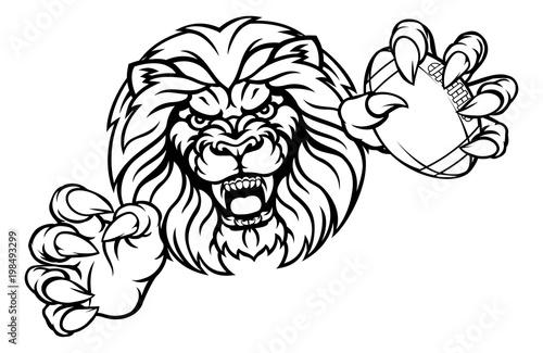 Lion American Football Ball Sports Mascot Canvas Print