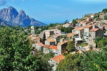 Corsica-view Of The Village Evisa