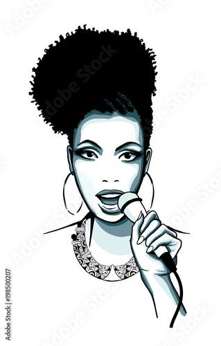 Tuinposter Art Studio Afro-american jazz singer Jazz
