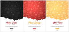 Set Of Pizza Food Menu For Restaurant And Cafe. Poster With Hand-drawn Graphic Elements In Doodle Style. Vector Illustration